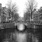 Amsterdam Canal Bridge Black And White Poster