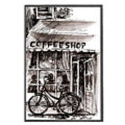 Amsterdam Coffe Shop Black And White Poster
