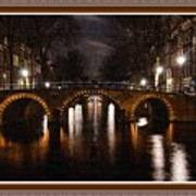 Amsterdam - Night Life L B With Decorative Ornate Printed Frame. Poster