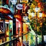 Amsterdam Night Rain Poster