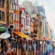 Amsterdam Rain - Palette Knife Oil Painting On Canvas By Leonid Afremov Poster