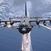 An Ac-130h Gunship Aircraft Jettisons Poster