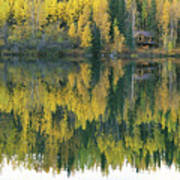 An Autumn View Of A Cabin Reflected Poster