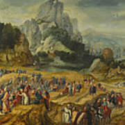 An Extensive Landscape With The Preaching Of Saint John The Baptist And The Baptism Of Christ Poster