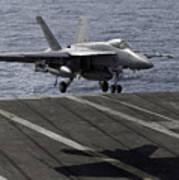 An Fa-18e Super Hornet Prepares To Land Poster