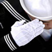 An Honor Guard Member Renders A Salute Poster