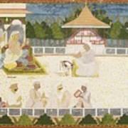 An Illustration Depicting Maharaja Ajit Singh Instructing A Scribe Poster