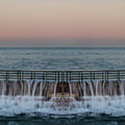 An Imagined Symmetrical Seawall As A Wave Tops It Poster