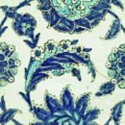 An Iznik Blue And White Pottery Tile, Turkey, 17th Century, By Adam Asar, No 18b Poster