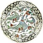 An Iznik Polychrome Pottery Dish With Birds Poster