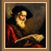 An Old Man Reading P B With Decorative Ornate Printed Frame. Poster