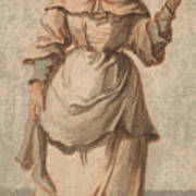An Old Market Woman Grinning And Gesturing With Her Left Hand Poster