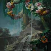 An Outdoor Scene With A Spring Flowing Into A Pool Poster