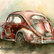 An Oval Window Bug In Deep Red Poster by Michael David Sorensen