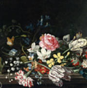 An Overturned Vase Of Flowers Resting On A Ledge Poster