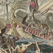 Ancient Greek Sea Battle Poster