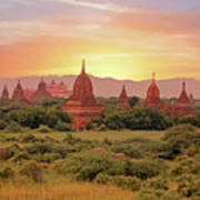 Ancient Pagodas In The Countryside From Bagan In Myanmar At Suns Poster