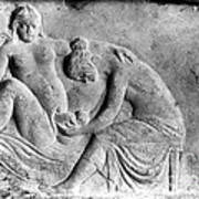 Ancient Roman Relief Carving Of Midwife Poster