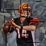 Andy Dalton Cincinnati Bengals Blocks Poster