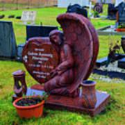 Angel Guarding Grave Hvalsneskirkja Graveyard Iceland Poster