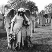 Angel On The Ground At Calvary Cemetery In Nyc New York Poster