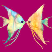 Angelfish Kissing Poster