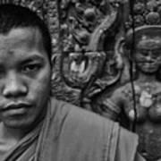 Angkor Watbuddhist Monk Portrait Poster