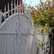 Angled Closeup Of White Washed Iron Gate To Garden Poster