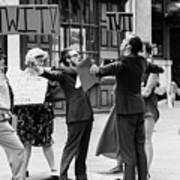 Angry Mob Demonstrating Poster