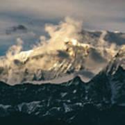 Annapurna Mountain Range In Evening Sunlight Poster
