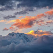 Annapurna South Peak In Sunset Clouds Poster