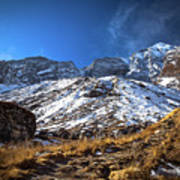 Annapurna Trail With Snow Mountain Background In Nepal Poster