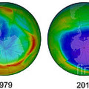 Antarctic Ozone Hole, 1979 And 2015 Poster