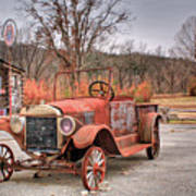 Antique Car And Filling Station 1 Poster