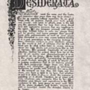 Antique Florentine Desiderata Poem By Max Ehrmann On Parchment Poster