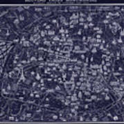 Antique French Pocket Map Of Paris Blueprint Style Poster