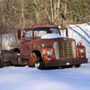 Antique Grungy Truck In Snow Poster