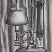 Antique Lamp In Charcoal Poster