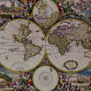 Antique Map Exotic Colorful Poster