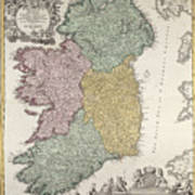 Antique Map Of Ireland Showing The Provinces Poster by Johann Baptist Homann
