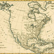 Antique Map Of North America Poster