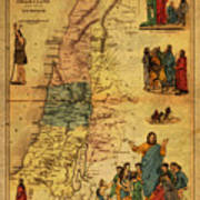 Antique Map Of Palestine 1856 On Worn Parchment Poster
