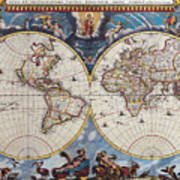 Antique Maps Of The World Joan Blaeu C 1662 Poster