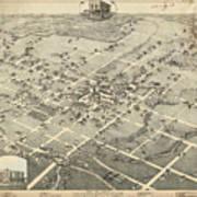 Antique Maps - Old Cartographic Maps - Antique Birds Eye View Map Of Denton, Texas, 1883 Poster