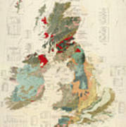 Antique Maps - Old Cartographic Maps - Antique Geological Map Of The British Islands Poster