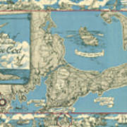 Antique Maps - Old Cartographic Maps - Antique Map Of Cape Cod, Massachusetts, 1945 Poster
