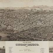 Antique Maps - Old Cartographic Maps - Antique Map Of Ciudad, Mexico, 1890 Poster