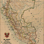 Antique Maps - Old Cartographic Maps - Antique Map Of Peru, South America, 1913 Poster