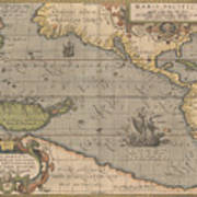 Antique Maps - Old Cartographic Maps - Antique Map Of The Pacific Ocean - Mar Del Zur, 1589 Poster