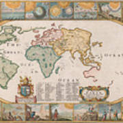 Antique Maps - Old Cartographic Maps - Antique Map Of The World Poster